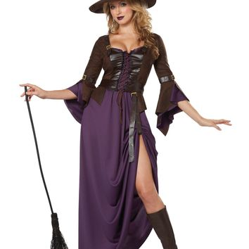 Salem Witch Dress and Hat Costume (X-Small,Purple/Brown)