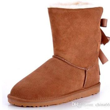 UGG 2017 new Bow Bailey Australia Lady Cowskin leather snow boots winter shoes for women boots