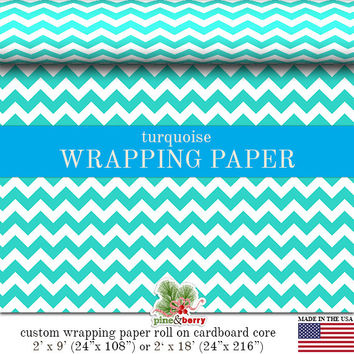 Turquoise Chevron Custom Premium Wrapping Paper   Turquoise Zig Zag Gift Wrap In Two Sizes Great For Any Occasion. Made In The USA
