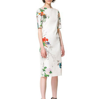 Beige Floral Print Short Sleeve Cheongsam Midi Dress