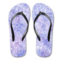 'Lavender and white swirls doodles' Flip Flops by Savousepate on miPic
