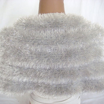 Hand knitted white silver wedding bolero