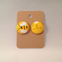Honey Bee Covered Button Earrings • yellow • Girls • Accessories • Spring Fashion • Handmade • 7/8 inch • Size 36 covered buttons