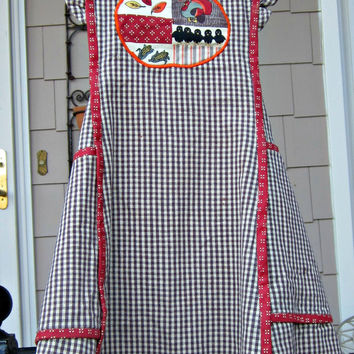 Vintage Pinafore Apron Ladies/Girls Farmhouse Brown White Check with Red Piping