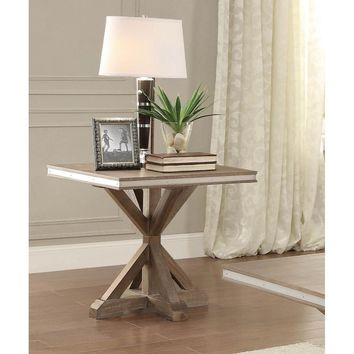 Metal Banded Wooden Square Table With X-Base Pedestal, Natural Rustic Brown