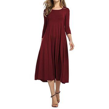Women Casual Pleated Dress Spring Three Quarter Sleeves Midi Dresses Party Vestidos O-Neck Work Wear Dress Plus Size S-5XL