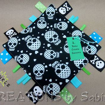 Baby Crinkle Sensory Blanket Toy, Tag Toy, Ribbon Sensory, Boy, Black, White, Blue, Turquoise, Green, Sugar Skulls, Pirate READY TO SHIP 171