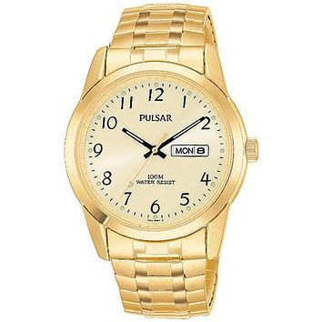Pulsar Mens Gold-Tone Expansion Band Day/Date Watch - Champagne Dial