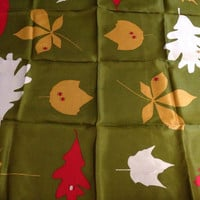 Vera Scarf Square with Leaves and Ladybugs Green Red White and Yellow