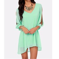 women Summer Dress Fashion V-Collar Batwing Sleeve plus size Short Loose Sexy Chiffon party Casual Beach mini Dresses