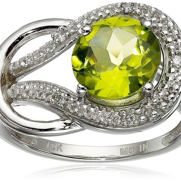 10k White Gold Gemstone and Diamond Accent Love Knot Ring peridot 6
