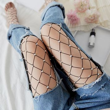 Sexy Fashion Cool Pearl Fishnet Tights Hollow Out Sexy Mesh Pantyhose Sexy Club Transparent Pantyhose Girls Womens Tights  #99