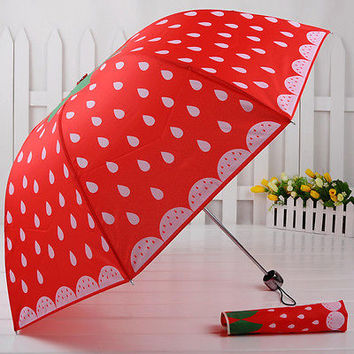 New Strawberry umbrella womens parasol Folding sun/rain Cute umbrella Super