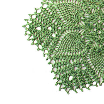 Free shipping, Light green linen lace doily, hand crochet table clothes, Easter center piece, Rustic home decoration, wedding, Ready to ship