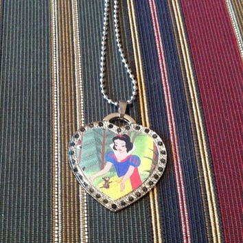 Disney's Snow White Silver With Black Rhinestones Heart Shaped Dog Tag Necklace
