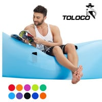 Toloco Fast Inflatable hangout Camping Sleep Bed Air Sofa Beach Bed Banana Lounger Air Bed Lazy Sleeping Bag With Side Pocket