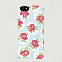 Large Illustrated Red Roses on Blue iPhone 4 4s 5 5s 5c Samsung Galaxy S3 S4 Case