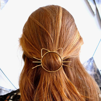 Cat Bun Pin Hair Clip Brass Barette Handmade Cat Whiskers Bun Slide
