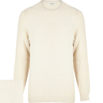 River Island MensEcru textured cotton sweater
