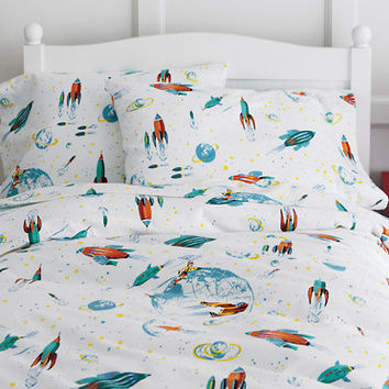 Glow-in-the-Dark White Rockets Flannel Bedding
