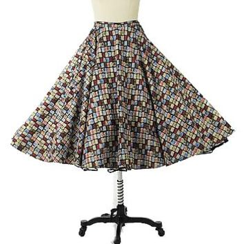 50's Nelly De Grab Atomic Print Circle Swing Skirt