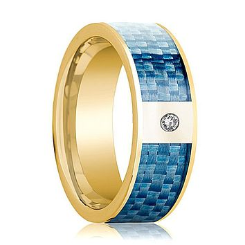 Mens Wedding Band 14K Yellow Gold and Diamond with Blue Carbon Fiber Inlay Flat Polished Design
