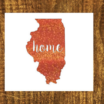 GLITTER Illinois Home Decal   Illinios State Decal   Homestate Decals   Love Sticker   Love Decal    Car Decal   Car Stickers   Bumper   105