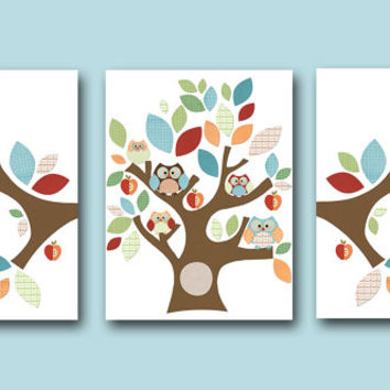 Owl Decor Owls Nursery Tree Nursery Baby Boy Nursery Art Decor Kids wall art Nursery Print Baby room decor Kids Art Boy Print set of 3 8x10
