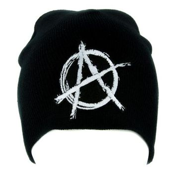 ac spbest White Anarchy Sign Beanie Knit Cap Alternative Clothing Punk Rock
