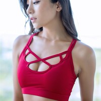Yoga Sport Bra Women Sexy Cross Shockproof Bustier Hollow Out Quick-Drying Fitness Running Underwear Bra Breathable Plus Size