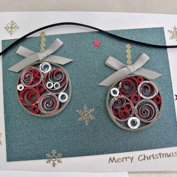 handmade paper quilled christmas card merry christmas ornaments - Handmade Paper Christmas Decorations