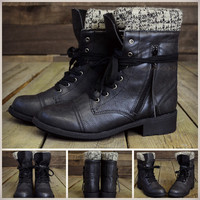 Moose Trails Black Sweater Ankle Boots
