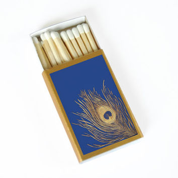 Vintage Book Covered Matchbox - Gilded Peacock Feather - Pair with a Candle - 1920's vibe - Tiny Bridesmaid Gift - Light a Literary Spark
