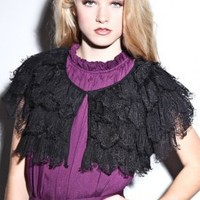 Women's Lace Shrug (Black) | Hazel | 80's Purple