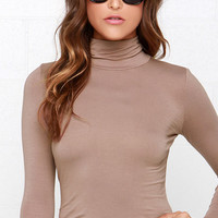 Neck's in Line Mocha Brown Turtleneck Top