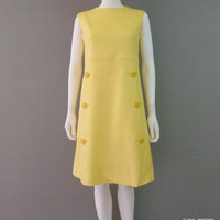 Yellow Linen Jack Needleman Sundress Mod Dress 1950's Small Mid-Century Sleeveless dress
