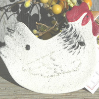 White Salt Dough Chicken Ornament / Chicken Art