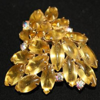 Yellow Orange Rhinestone Brooch Large Rhinestone Brooch (sn 107)
