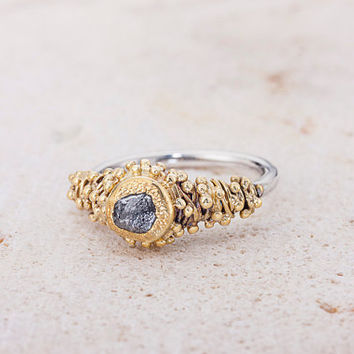 Raw Diamond Silver and Gold Ring, Rough Diamond Unique Engagement Ring, Uncut diamond ring, silver and Gold Proposal Ring, Diamond ring