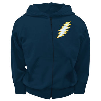 Grateful Dead - Stitched Bolt Navy Youth Zip Hoodie