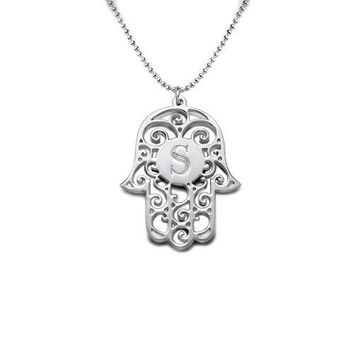 Sterling Silver Filigree Hamsa Personalized Initial Pendant Necklace