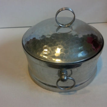 Vintage Aluminum Container with Lid - Hammered Aluminum Mid Century - Shabby or Cottage Chic -