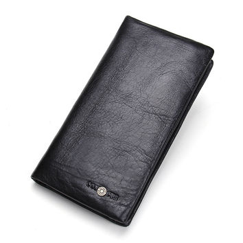 Men Vintage Bags Leather Zippers Wallet [9026452611]