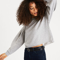 AEO Boxy Pleat-Sleeve Sweatshirt, Dark Gray