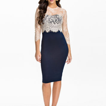 Blue Sheer Lace Sleeve Pencil Midi Dress