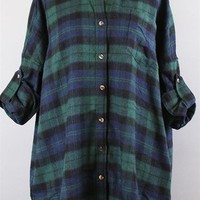 Plaid Flannel Mini Dress--Blue/Green or Red/Blue