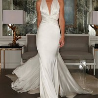 [99.99] Stunning Stretch Satin Halter Neckline Sheath Wedding Dress - dressilyme.com