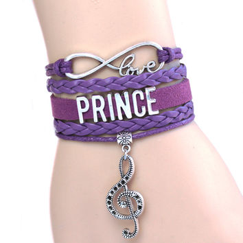 NEW ARRIVED Infinity Bracelet Love Prince Music Charm Bracelet Purple Rain Bracelet The Artist Bracelet High Quality Custom