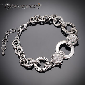 IYOE Double Tiger Head Chain &Link bracelets & bangles Animal Jewelry Fashion Crystal Wrap Bracelet For Women And Men