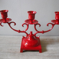 3 arm RED candelabra candle holder  upcycled  by MamaLisasCottage